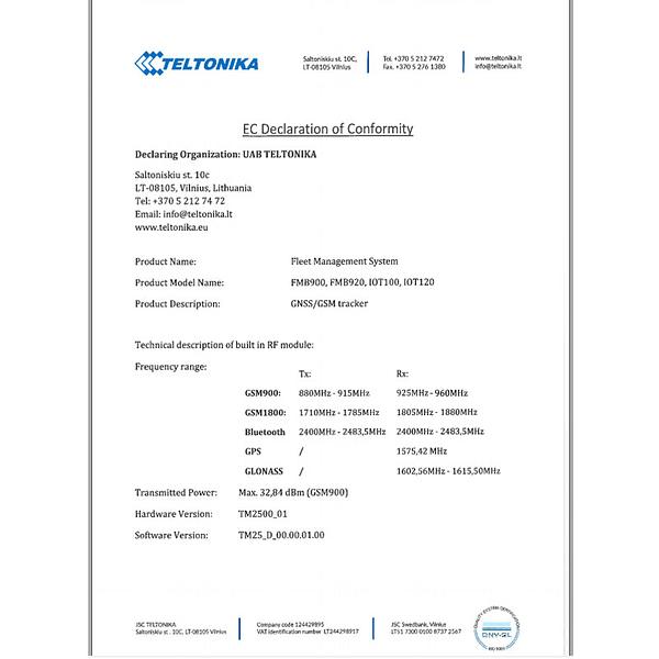 Teltonika FMB920 Declaration de conformite CE